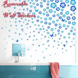 Wholesale Decorate Vinyl - Removable Flower Butterfly Decal Decorating Room Wall Sticker PVC Waterproof New