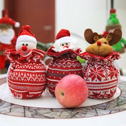 2019 bolsas de cor branca 2017 Ano Novo sacos de presente de natal tecer sacos de maçã cordão Meias de Natal Saco de Presente Sacos de Doces de compras de Natal grande capactity