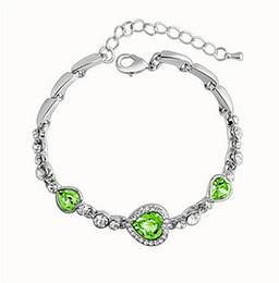 Wholesale Heart Ocean Jewelry Set - Fashion 925 Sliver Jewelry Heart charm Bracelets & Bangles Blue Glass Ocean Style Beads fits Pandora bracelets for Women Free Shipping