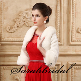 Wholesale Cheap Faux Fur Capes - 2015 Cheap Faux Fur Long Shrug Cape Stole Wrap For Wedding with Long Sleeve Free Size Bridal Prom Evening WHITE IVORY Bolero IN STOCK