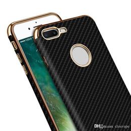 Wholesale Iphone Bumper Card - For iPhone 8 Plus case carbon fiber silicone case cover for iPhone6 6S 7 6 X Samsung S8 plus bumper black rose gold
