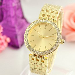Wholesale steel grey dress - High quality dress diamond color dials women watches alloy metal rose gold luxury brand bracelet folding buckle wristwatch girl for gifts