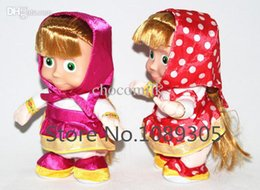 Wholesale Walking Dolls For Kids - New Russian talking Masha and Bear Doll Toys Repeats words Walking musical Masha doll toy For children baby kids Free shopping