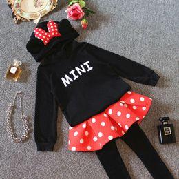 Wholesale New Arrivals For Children Winter - Children Clothing Set For 2015 Autumn New Arrival Girls Mickey Suit Hooded Sweatshirt + Pants 2 Pcs Set Fit 3-9 Age 5Pcs Lot 100-140 SS278