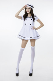 Wholesale carnival uniforms adults - 2018 New White Adult Sailor Dress Uniform Temptauniform Sexy Navy Cosplay Halloween Costumes Club Stage Performance Clothing Hot Selling