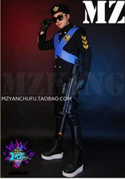 Wholesale Military Style Suit Men - Male singer in Europe and the new nightclub runway looks cross straps military uniform style suit costumes. S - 6 xl