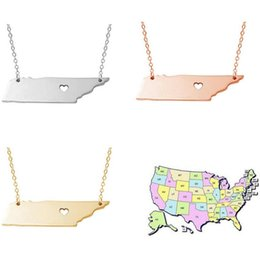Wholesale Custom Necklace Wholesale - New Map necklace Tennessee state necklace Stainless steel pendant State charm heart necklaces Custom map pendants