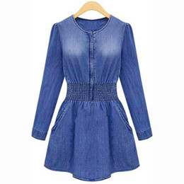 Wholesale Xl Capped Sleeved Party Dress - S5Q Vintage Women Long Sleeved Slim Casual Denim Jeans Party Playsuit Mini Dress AAAENB