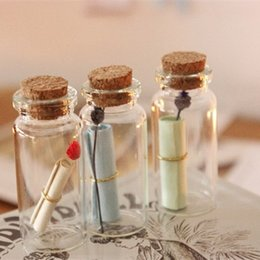 Wholesale Wholesale Vintage Glassware - 10 pcs Lot Mini Glass bottles with corks Wishing bottle wedding supplies Vintage Vial Love Message bottle Glassware gift 8729