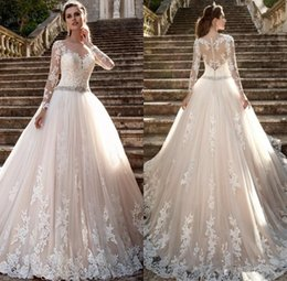 Wholesale Modest Wedding Dresses China - Modest Long Sleeves Wedding Dresses 2018 Scoop Neck Lace Appliques Sash Beads Sweep Train Back Covered Button Bridal Gowns China Dress