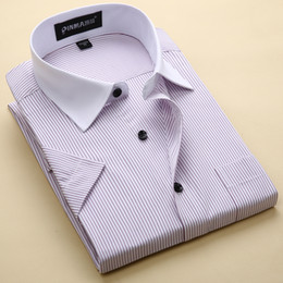 Wholesale Quality Formal Shirts - Wholesale- New Arrival Brand Men's Striped Shirts Casual Social Business Formal Shirt High Quality Short Sleeve Dress Shirt For Men
