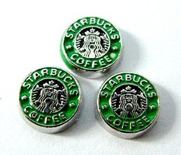 Wholesale Wholesale Starbucks Charms - 20PCS lot Enamel Starbucks Coffee Charm, Alloy Floating Locket Charms Fit For Magnetic Glass Living Locket