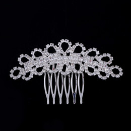 Wholesale Gold Wedding Head Pieces - 2015 NEW free shipping Wedding hair accessories Bride Bridal Floral Hair Comb Head Pieces hair jewelry Clear Rhinestone Crystals