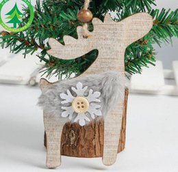 Wholesale Christmas Bell Crafts - Christmas Tree Wooden Bell Hanging Christmas Decoration Art Craft Deer Snowflake Christmas Party Festive Ornaments Pendanrt
