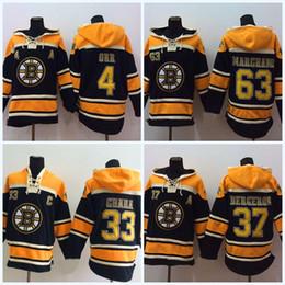 Wholesale Hockey Sweaters - 37 Patrice Bergeron Boston Bruins Jersey 33 Zdeno Chara 77 Ray Bourque 63 Brad Marchand 4 Bobby Orr Men's Hoodie Sweater Hockey Jersey