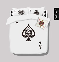 Wholesale Doona Covers Black White - Poker black and white bedding set queen size doona quilt duvet cover double sheets bedspreads bed in a bag linen 100% cotton 80 bedlinen