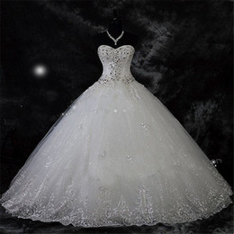 Wholesale Sweetheart Tulle Rhinestones - Robe De Mariage New Arrival Lace Rhinestone Vintage Plus Size Wedding Dress 2017 Wedding Gown Vestido De Novia