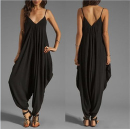 Wholesale Jumpsuits Sexy Low V Neck - Wholesale Low-Cut Deep V-neck Sexy Suspenders Loose Jumpsuits & Rompers Beach Leisure Backless Wide Leg Pants Free Shipping