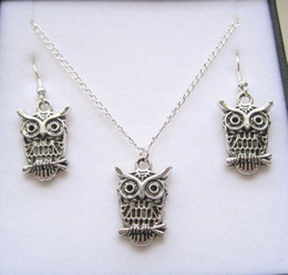 Wholesale Antique Mic - MIC Antique silver *Owl* Gift Set Necklace Earrings Jewelry Set (291)