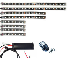 Wholesale Led Multi Color Kit - Wireless Remote Control Multi-Color 8pcs 3 Size RGB SMD5050 Flexible Led Strip Motorcycle ATV Underbody Light Kit