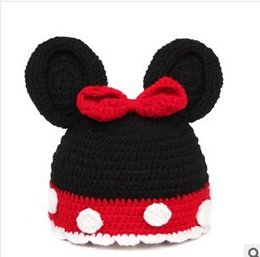 Wholesale Crocheted Caps For Girls - Baby Girls Caps Cartoon Pattern Dot Bow Baby Beanie Hats Caps For Girl Crochet New Fashion Children's Hats 2015 Hot Sale TZH207