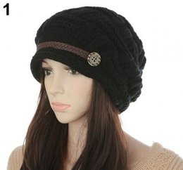 Wholesale White Beret Cap - Slouch Beanies Button Hats Knitted Crochet Baggy Skullies Beret Cap Hat for Women Winter Ski Party 6colors