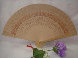 Wholesale carved wood hands - Free Shipping 100pcs chinese carved folding fragrance wood hand fans