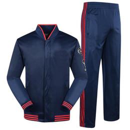 Chaquetas de ejercicio online-Otoño Final LBJ equipo de baloncesto ejercicio chándales para hombres de moda running chándales de la aptitud de los hombres sueltos botón chaquetas de los hombres envío gratis
