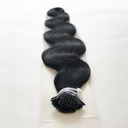 Wholesale I Tip Indian Virgin Hair - Brazilian peruvian malaysian indian hair soft human hair extensions body wave i tip 100g black remy virgin hair