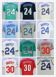 Wholesale Red Halls - 24 Ken Griffey Jr Jersey #30 griffey with 2016 Hall Of Fame Patch Green Cream Blue Teal Men Majestic Cool Base Jersey