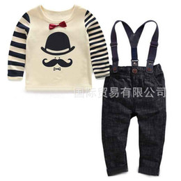 Wholesale Boys White Suspenders - Child Clothes Boys Clothing Sets 2015 Spring Autumn Long Sleeve T Shirt Kids Suspender Thouser Boys Suits Children Set Kids Outfits C10825