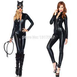 Wholesale Pvc Bodysuit Men - Wholesale-PVC Wet Look Bandage Catsuit Faux Leather Bodysuit Catwoman Fetish Costume