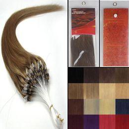 "Wholesale Ash Brown Extensions - 16''-24""Silky Straight Micro Loop ring beads Natural hair extensions Grade AAA weaving hair#10 medium ash brown ,100s pack"