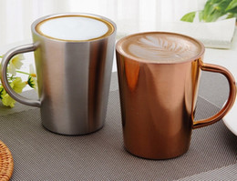Wholesale Rose Mug - Double Layer 304 Stainless Steel Rose Gold Silver Coffee Mugs Anti-hot Portable Travel Outdoor Tea Cup