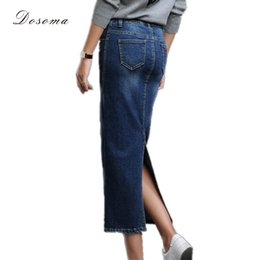 Wholesale Korean Style Long Skirts - Wholesale- women's long denim skirt 2017 korean style back split long stretch denim skirt autumn winter high waist jeans wrap hip skirt