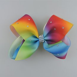 Wholesale Rhinestone Bow Hair Clip - JOJO Rhinestone Bow Clip 12CM Large Rainbow Signature HAIR BOW wich clip baby girl Children Hair Accessories fashion hair clip