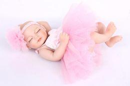 Wholesale Hard Dolls - Wholesale- Reborn Baby Doll Hard Silicone Vinyl 11inch 28cm Waterproof Toy Princess Lifelike Baby Doll