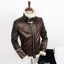 Wholesale Korean Leather Winter Jackets - Fall-HOT ! Free shipping Men's fahion New winter Korean heirs same paragraph warm lamb's wool leather clothing fut jacket coat