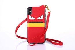 Wholesale Devil Cards - Luxury brand leather little devil with card Pocket lanyard phone shell case for iphone 6 7 8 plus TPU iphone x case