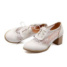 Wholesale Girls Vintage Boots - Womens Girls Brogue Block Heels Oxfords Vintage Retro Lace Up Pumps Boots Shoes