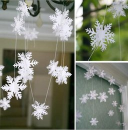 Wholesale Wholesale Paper Snowflake Decorations - 5pcs 3 Meters White Paper Snowflake Christmas Holiday Tree Garland Venue Decoration