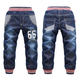 Wholesale Baby Boy Red Jeans - Wholesale-Thick cashmere Children's jeans winter warm boys denim pants fashion red striped welt baby boy clothing casual letter boys jeans
