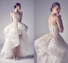 Wholesale Crystal Strapless White Wedding Dresses - 2015 Hot krikor Jabotian High Low Wedding Dresses Sexy A Line Strapless Backless Applique Beads Pleats Custom Made Formal Evening Gowns