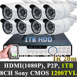 Wholesale Hard Disk Audio - CCTV System 1200TVL Cameras 8CHANNELS Full D1 DVR Outdoor Weatherproof Kit package video audio phone remote WITH 1TB hard disk