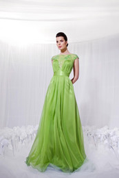 Wholesale Sexy Discount Evening Gown - 2017 Design A Line Short Sleeve Evening Dresses Floor Length Chiffon Appliques Big Discount Cheap Prom Party Gowns