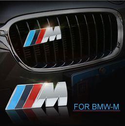 Wholesale power heads - 3D Metal    M M Power Car Front Grille emblem Chrome Badge 3D metal Logo Emblem For BMW M Badge E36 E30 E34 E46 E39 E60 E90 Z3