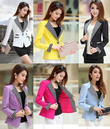2019 пейсли рукав куртка Женская плюс размер одежды тонкий одна кнопка с длинным рукавом blazer верхняя одежда дамы черный / синий / Роза / желтый M / L / XL/XXL / XXXL blaser