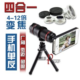 Wholesale Zoom Iphone 4s 12x - Wholesale-4-12x optical zoom telephoto cell phone lens +fisheye + wide angle + macro 4 in 1 set for iPhone 6 5s 4s Samsung