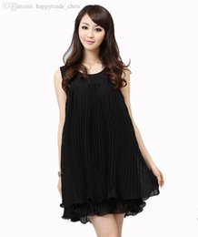 Wholesale Dresses For Less - Wholesale-Solid pink black sleeve less Summer dress for pregnant women sexy maternity fashion party chiffon dress saia female clothes tops