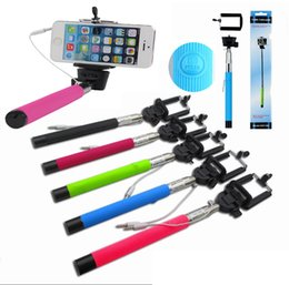 Wholesale Aluminum Cable Clips - Z07-5S Wired Selfie Stick Extendable Handheld Control Cable Monopod Tripod with Clip Holder For iPhone Samsung Android without groove